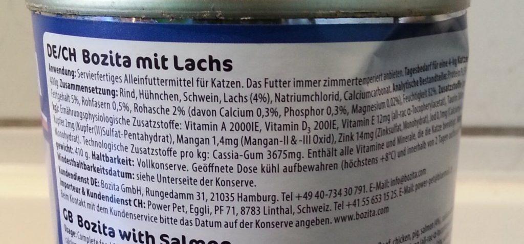 Inhaltsstoffe Bozita mit Lachs Katzenfutter