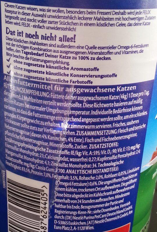 Inhaltsstoffe Felix Katzenfutter